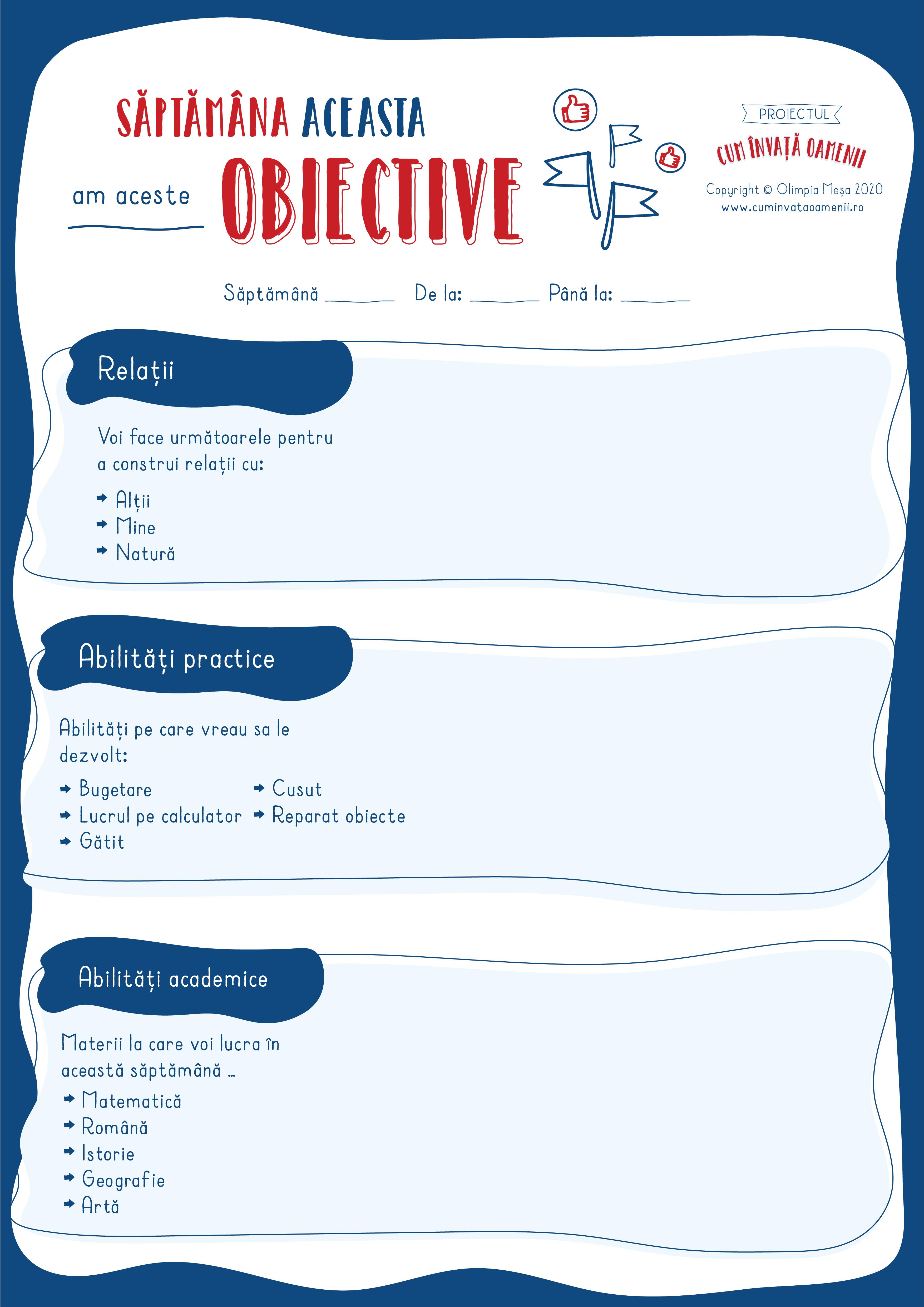 Poster: Obiective săptămânale de învățare pentru copii